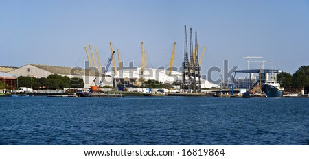 panorama of Millennium Dome/O2 Arena, across the River Thames, London - stock photo