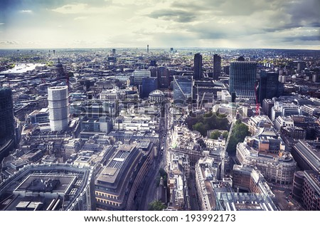 panorama of modern London city from top building - stock photo