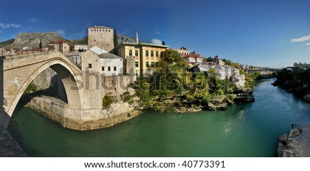 panorama of mostar city old town, bosnia herzegovina - stock photo