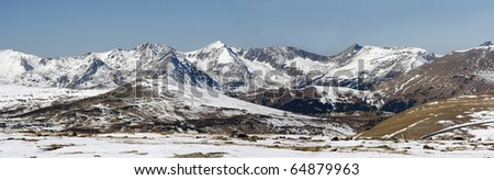 Panorama of Mountains on Trail Ridge Road, Rocky mountain National Park - stock photo