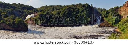 Panorama of Murchison Falls on the Victoria Nile, Uganda - stock photo