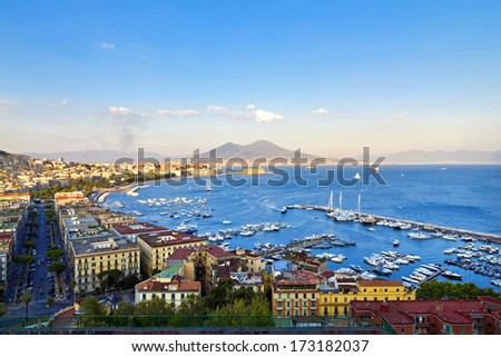 Panorama of Naples, view of the port in the Gulf of Naples and Mount Vesuvius - stock photo