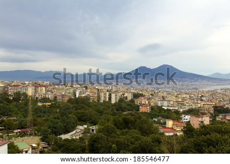 Panorama of Naples, view of the port in the Gulf of Naples, the Egg Castle, and Mount Vesuvius - stock photo