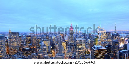 Panorama of New York City at dusk - stock photo