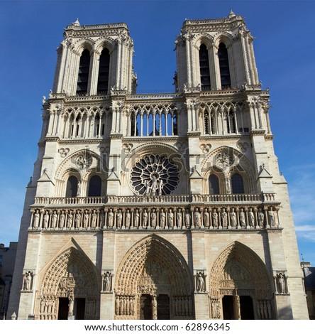 Panorama of Notre Dame de Paris - stock photo