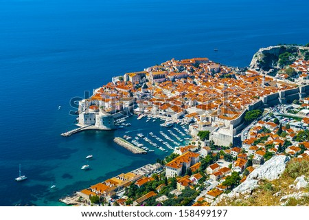 Panorama of Old City of Dubrovnik, a Croatian city on the Adriatic Sea, it is one of the most prominent tourist destinations in the Mediterranean. Pearl of the Adriatic - stock photo