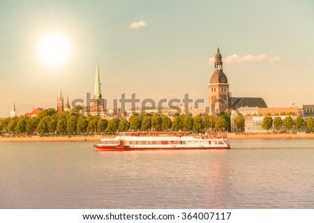Panorama of old Riga. Latvia. Summer view. - stock photo