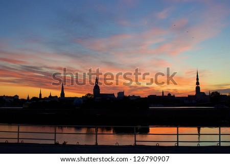 Panorama of old Riga night. Latvia - stock photo
