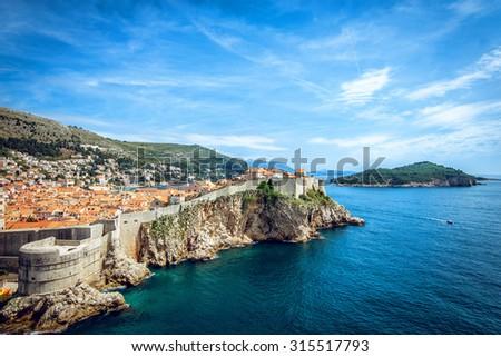 Panorama of old town of Dubrovnik in Croatia - stock photo