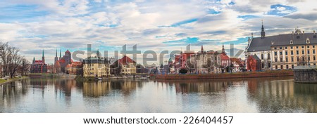panorama of old town of Wroclaw, Poland - stock photo
