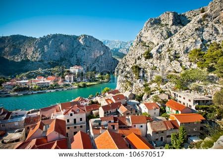 Panorama of Omis,Croatia - stock photo