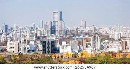 Panorama of Osaka skyline building Japan - stock photo