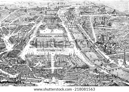 Panorama of paris in 1889, vintage engraved illustration. Dictionary of words and things - Larive and Fleury - 1895. - stock photo
