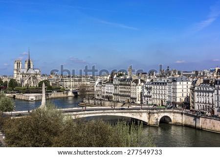 Panorama of Paris. View from Arab World Institute (Institut du Monde Arabe) building. France. - stock photo