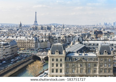 Panorama of Paris. View from Cathedral Notre Dame de Paris. France. - stock photo