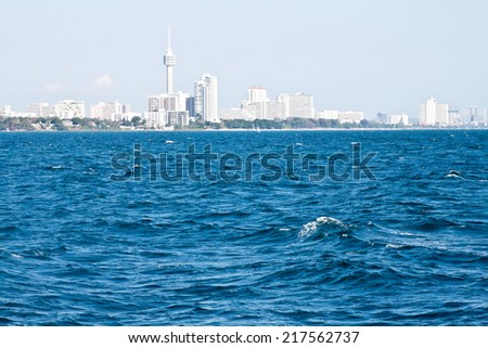 Panorama of Pattaya (picture made from the sea) - stock photo