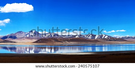 Panorama of Peiku Tso Lake, Tibet - stock photo