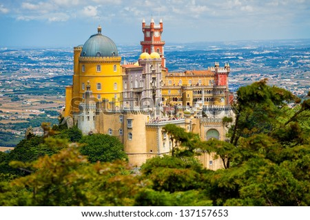 Panorama of Pena National Palace in Sintra, Portugal. UNESCO World Heritage Site and one of the Seven Wonders of Portugal - stock photo