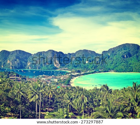 Panorama of Phi-Phi island, Krabi Province, Thailand, Asia - stock photo