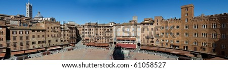 Panorama of Piazza del Campo, Siena, Tuscany - stock photo