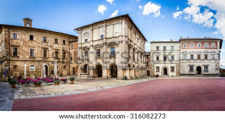 Panorama of Piazza Grande in old Montepulciano city, Italy - stock photo