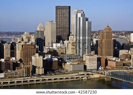 Panorama of Pittsburgh, Pennsylvania. North America, USA. - stock photo