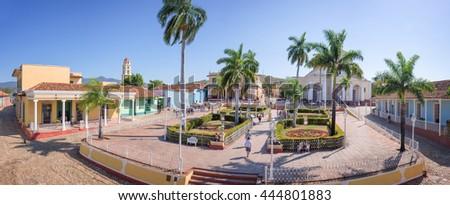 Panorama of Plaza Mayor, Trinidad, Cuba - stock photo