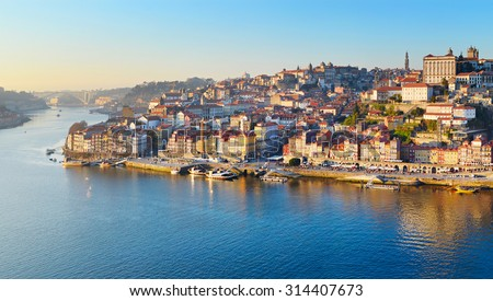 Panorama of Porto Old Town and Duoro river. Portugal - stock photo