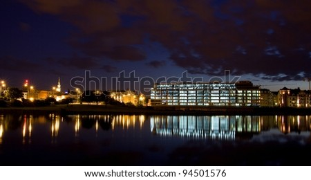 Panorama of Poznan at night, Poland. Poznan is host city Uefa Euro 2012 - stock photo