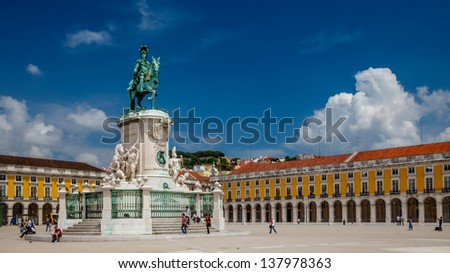 Panorama of Praca do Comercio and Statue of King Jose I in Lisbon, Portugal - stock photo