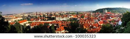panorama of Prague with blue sky - stock photo