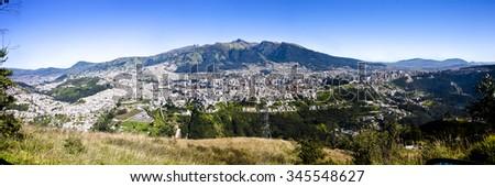 Panorama of Quito capital of Ecuador - stock photo