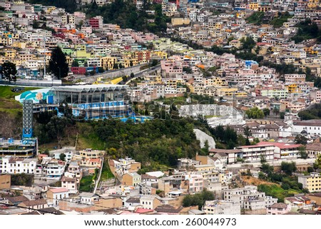 Panorama of Quito, Ecuador - stock photo