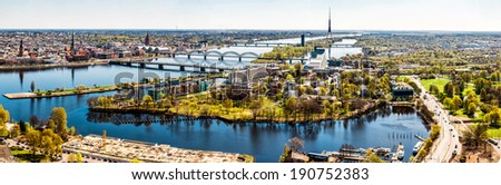 Panorama of Riga city. Latvia - stock photo