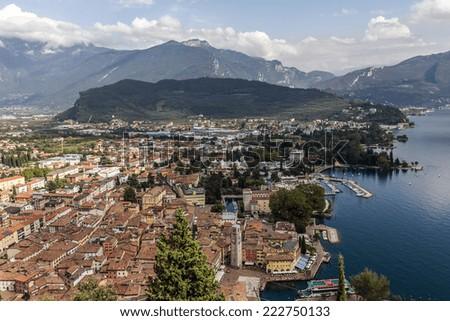 Panorama of Riva del Garda by the Lake Garda, Italy - stock photo