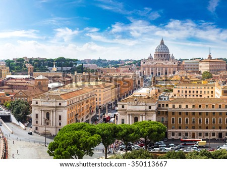 Panorama of Rome and Basilica of St. Peter in a summer day in Vatican - stock photo