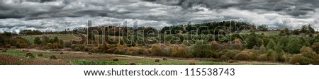 Panorama of Rural Landscape in Autumn - stock photo