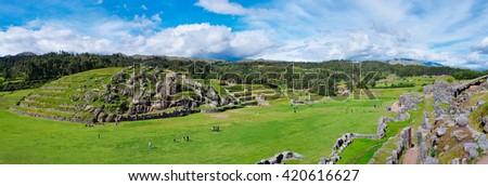 Panorama of Sacsayhuaman, Inca ruins in Cusco. Peru - stock photo