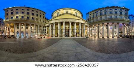 Panorama of San Carlo Square and Church of Saint Charles Borromeo, Milan, Italy - stock photo