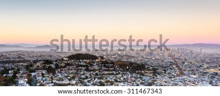 Panorama of San Francisco, California, USA - stock photo