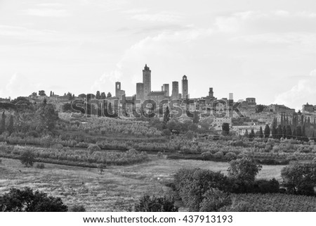panorama of San Gimignano city of towers in the province of Siena in Tuscany in central Italy. in the photo are no trademarks or recognizable people - stock photo