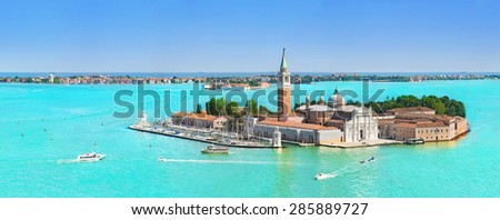 Panorama of San Giorgio Maggiore viewed from the main island, Venetian Lagoon, northern Italy, Venice - stock photo