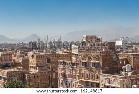 Panorama of Sanaa, Yemen - stock photo