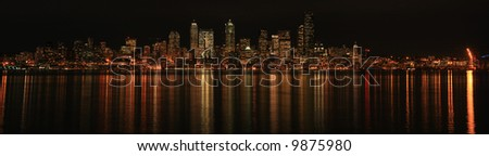 Panorama of Seattle skyline at night - stock photo