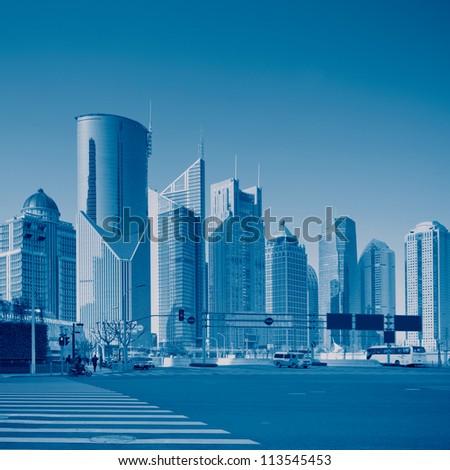 panorama of Shanghai, China - stock photo