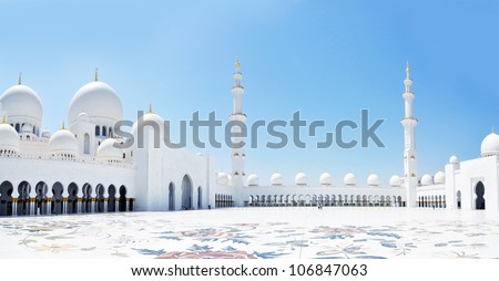 Panorama of Sheikh Zayed mosque in Abu Dhabi. The third biggest mosque in the world - stock photo