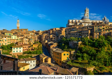 Panorama of Siena, Tuscany, Italy - stock photo