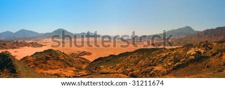 panorama of Sinai desert - stock photo