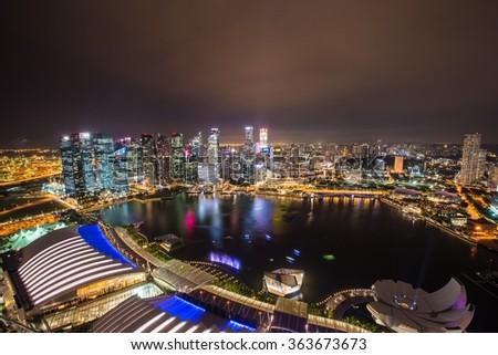 Panorama of Singapore skyline downtown - stock photo