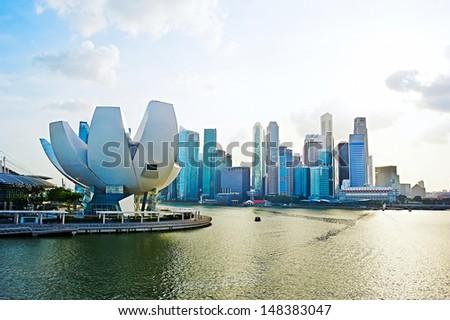 Panorama of Singapore. View from Helix bridge - stock photo